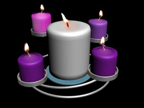 Advent Wreath Candle Holder 1.0 in Metallic Plastic