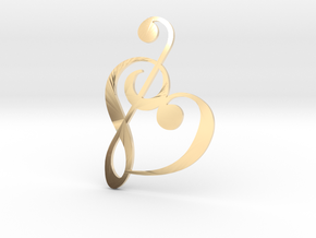 Heart Clef Pendant in 14k Gold Plated Brass