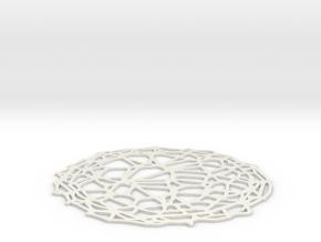 Drink coaster - Voronoi #4 (9 cm) in White Natural Versatile Plastic