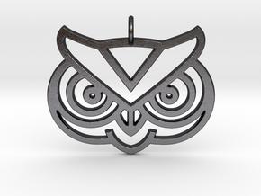 Owl Head Pendant in Polished Grey Steel