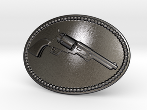 Colt Dragoon Belt Buckle in Polished and Bronzed Black Steel