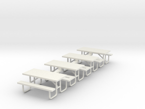 MOF Picnic Table Metal 6ft(4)[72-1] in White Natural Versatile Plastic