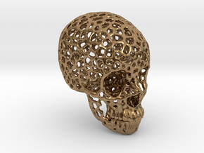 Voronoi Human Skull  in Natural Brass