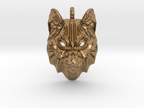 Timber Wolf Pendant in Natural Brass