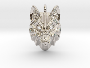 Timber Wolf Pendant in Rhodium Plated Brass