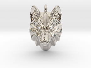 Timber Wolf Small Pendant in Rhodium Plated Brass
