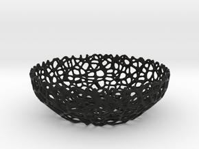 Voronoi bowl (15 cm) - Style #8 in Black Natural Versatile Plastic