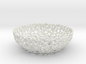 Voronoi Key shell / bowl (12 cm) - Style #8 in White Natural Versatile Plastic