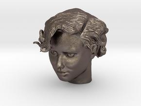 Adriana Lima Female Model Head Sculpt in Polished Bronzed Silver Steel