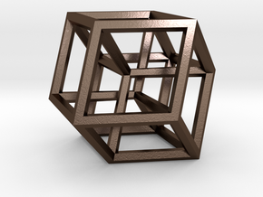 Hypercube B (11cm) in Polished Bronze Steel