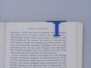 Bookmark Monogram. Initial / Letter I  in Blue Processed Versatile Plastic
