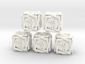 5 × 'Twined' D6 -1/-1 counters (14 mm) SOLID in White Processed Versatile Plastic