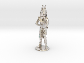 Jackel Guard With Staff - 20 mm in Rhodium Plated Brass