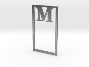 Bookmark Monogram. Initial / Letter M  in Natural Silver