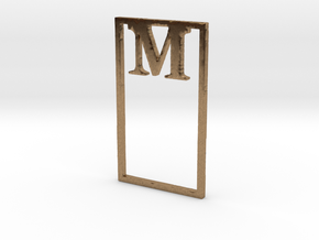 Bookmark Monogram. Initial / Letter M  in Natural Brass