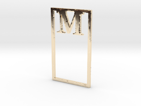 Bookmark Monogram. Initial / Letter M  in 14k Gold Plated Brass