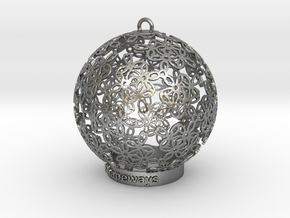 Flowers Ball Ornament in Natural Silver
