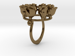 8 Roses in a circle.  in Polished Bronze