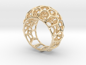 Voronoi Cell Ring  (Size 60) in 14K Yellow Gold