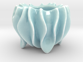 Ripple Sugar Bowl  in Gloss Celadon Green Porcelain