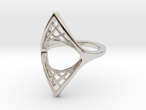 Parabolic Suspension Ring - US Size 09 in Rhodium Plated Brass