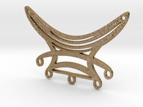 Five Dangles Festoon Pendant Large in Polished Gold Steel