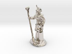 Female Dragonborn Druid in Rhodium Plated Brass