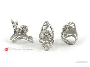 Ring Dangerous 7 - Detailed rose Precious Metal in Polished Silver