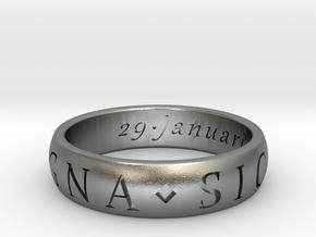 Size 12.5 Sir Francis Drake, Sic Parvis Magna Ring in Natural Silver
