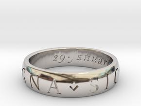 Size 12.5 Sir Francis Drake, Sic Parvis Magna Ring in Platinum