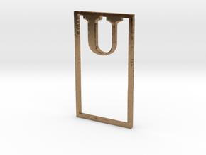 Bookmark Monogram. Initial / Letter U in Natural Brass