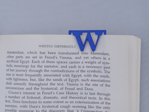 Bookmark Monogram. Initial / Letter W  in Blue Processed Versatile Plastic