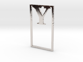 Bookmark Monogram. Initial / Letter  Y  in Rhodium Plated Brass