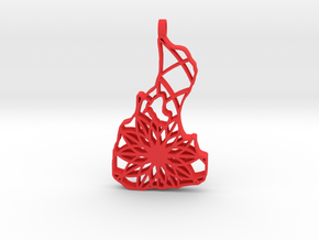 3D Printed Block Island Keychain 2 in Red Processed Versatile Plastic