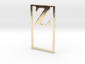 Bookmark Monogram. Initial / Letter Z  in 14k Gold Plated Brass