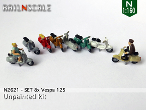 SET 8x Vespa 125 (N 1:160) in Smoothest Fine Detail Plastic