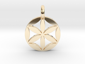Flower of Life Pendant in 14k Gold Plated Brass