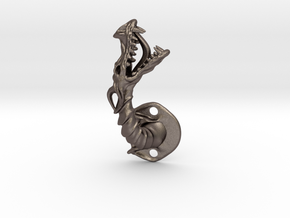 Dragon Cabinet Handle 5 - Facing right in Polished Bronzed Silver Steel