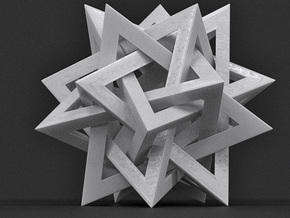 Orderly Tangle 03 - Tetrastar (Five Tetrahedra) in White Processed Versatile Plastic