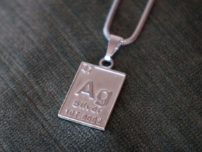 Silver Periodic Table Pendant in Polished Silver