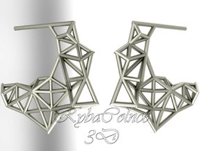 Earrings The Polygon in Rhodium Plated Brass