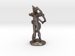 Tiefling Ranger with  Bow in Polished Bronzed Silver Steel