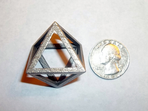 """Octahedron 1.5"""" in Polished Bronzed Silver Steel"""