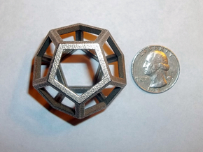 """Dodecahedron 1.75"""" in Polished Bronzed Silver Steel"""