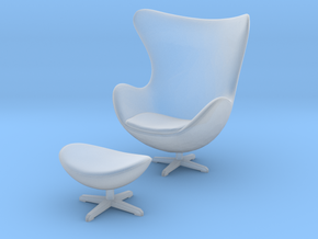 Miniature Egg Chair - Arne Jacobsen  in Smooth Fine Detail Plastic: 1:24
