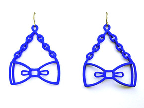 Bow Tie Earrings - in nylon in Blue Processed Versatile Plastic