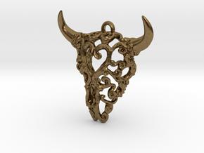 Filigree Bison Skull in Natural Bronze