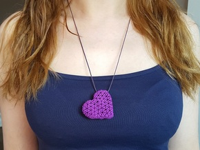 Knots Heart pendand in Purple Processed Versatile Plastic