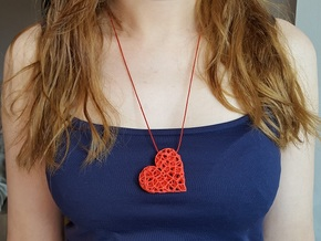 Voronoi Heart pendant (version 2) in Red Processed Versatile Plastic