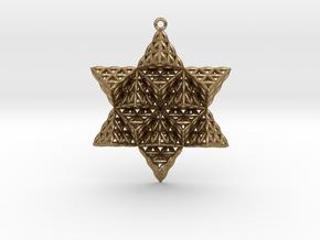 Flower of Life TetraStar Large in Polished Gold Steel